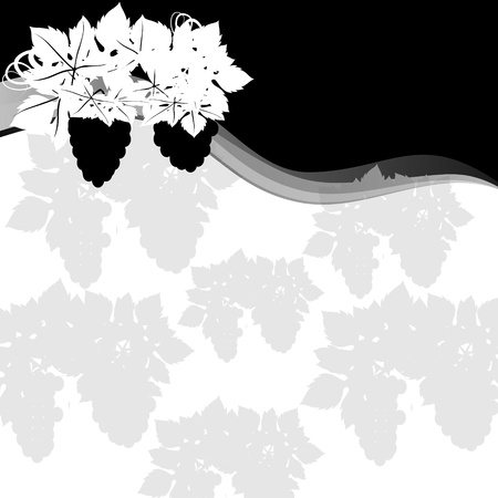 save as: Grapes on a background of abstract background. Black and white illustration. Illustrator save as EPS-10.