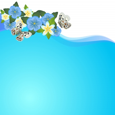 save as: The flora and fauna. Flowers and butterflies on an abstract background. Illustrator save as EPS-10.