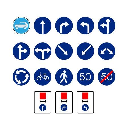 交通標識のセットです。白い背景の上の図。  イラスト・ベクター素材