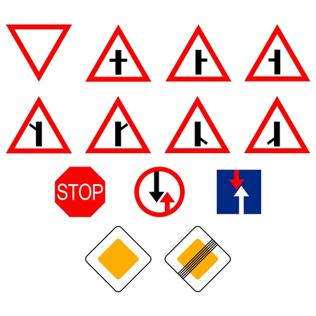 Set of traffic signs. The illustration on a white background. Vector