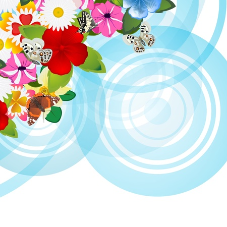 diameter: Wild flowers on a background of abstract circles  The illustration on a white background  Illustration for the EPS-10 format