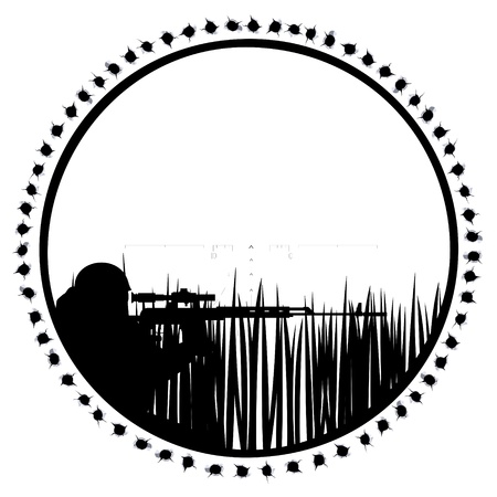 The contour of a sniper with a sniper rifle  The illustration on a white background  Vector