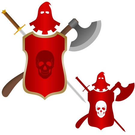 commit: The executioner mask, a sword and an ax to commit penalty  Shield with a skull on it  The illustration on a white background  Illustration