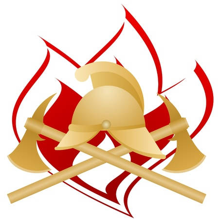 Fireman helmet and two fire ax against fire  The illustration on a white background