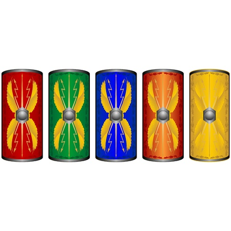 legionaries: Shields ancient Roman legionaries  The illustration on a white background  Illustration