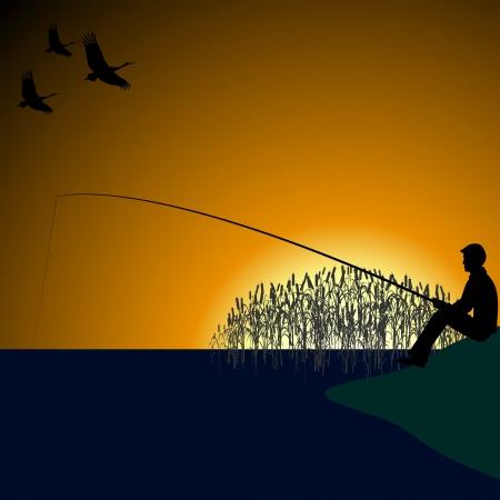 canna pesca: Un pescatore con una pesca canna da pesca sul lago Vettoriali