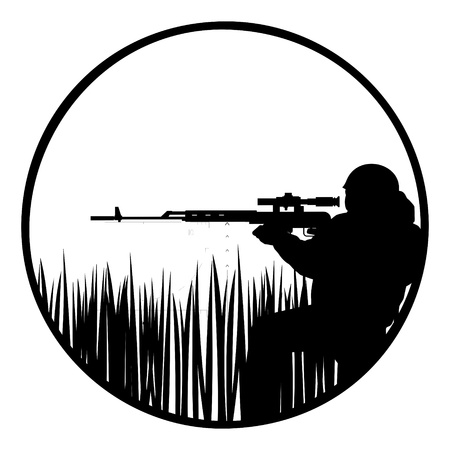 The contour of a sniper with a sniper rifle  The illustration on a white background
