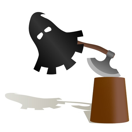 commit: The executioner mask and ax to commit penalty  The illustration on a white background  Illustration