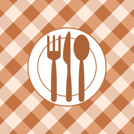 Plate and cutlery on the background of the tablecloth  Abstract image