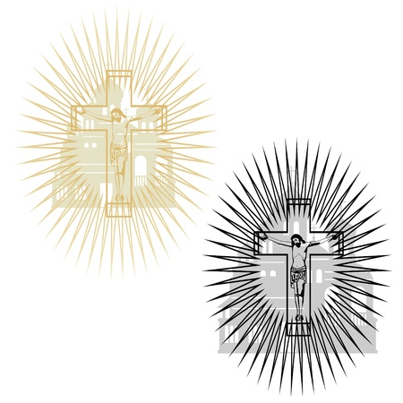 anointed: Abstract image of the crucifixion on the background of the church  The illustration on a white background  Illustration
