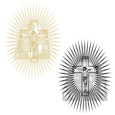 messiah: Abstract immagine della crocifissione sul fondo della chiesa L'illustrazione su uno sfondo bianco