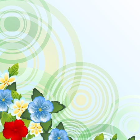 Wild flowers on a background of abstract circles  The illustration on a white background  Illustration for the EPS-10 format  Stock Vector - 20857349