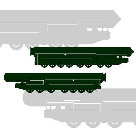 nuclear weapons: The Strategic Rocket Forces-contour military vehicle with a rocket  The illustration on a white background  Illustration