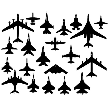 The contours of aircraft military aircraft  The illustration on a white background  Vector