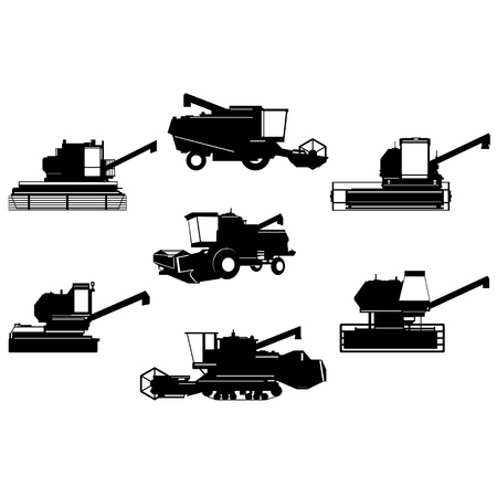 auger: A set of contour images of agricultural machinery. The illustration on a white background. Illustration