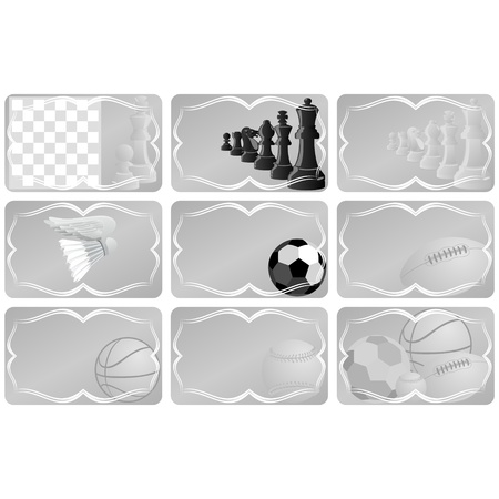 A business card with a picture of sports equipment Vector