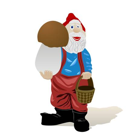 Fairy tale character. Leprechaun with mushroom. The illustration on a white background.