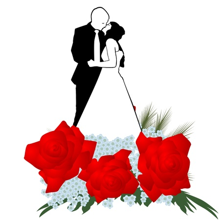 The man and woman kissing on a background of flowers. The illustration on a white background. Vector