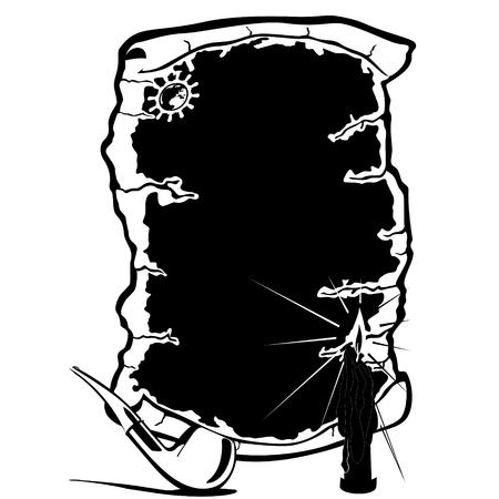 pipe smoking: Die alten Pergament, Rohr f�r Rauchtabak und eine brennende Kerze Schwarz-Wei�-Abbildung auf einem wei�en