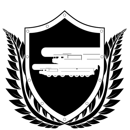 nuclear weapons: Shield and the image of a missile carrying a nuclear warhead in a frame of laurel branches  Black and white illustration on a white