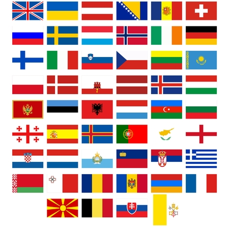 Badges with flags of different countries. The illustration on a white background. Vector