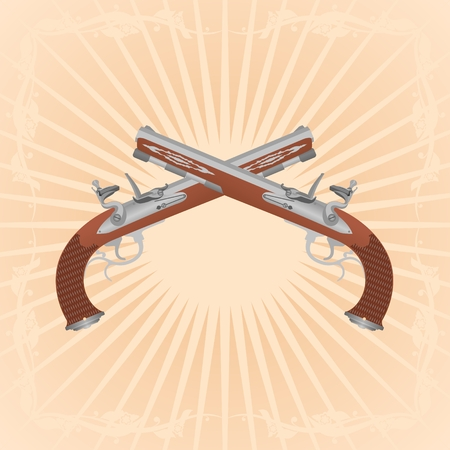 Two ancient gun on an abstract background. Illustration on the background of diverging rays. Stock Vector - 23249887