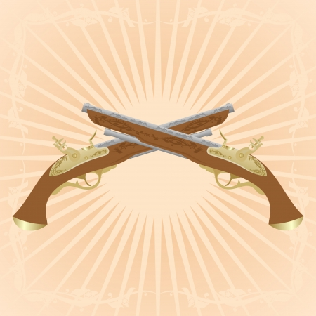 diverging: Two old pistol on abstract diverging rays.