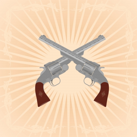 Two revolvers on an abstract background. Illustration on the background of diverging rays. Stock Vector - 23249890