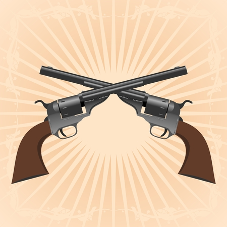 trigger: Two old pistol on abstract diverging rays.
