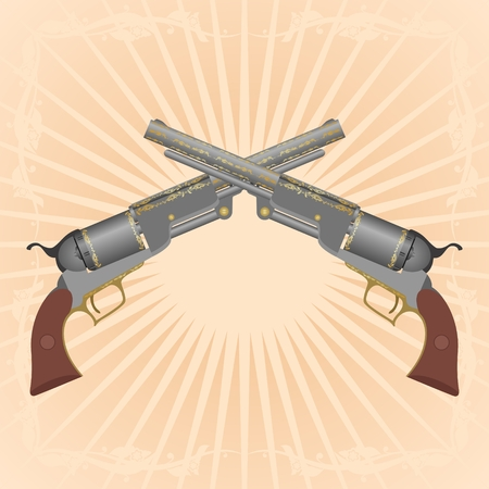 Two old pistol on abstract diverging rays. Vector