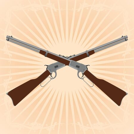 diverging: Two old rifle on an abstract background. Illustration on the background of diverging rays. Illustration