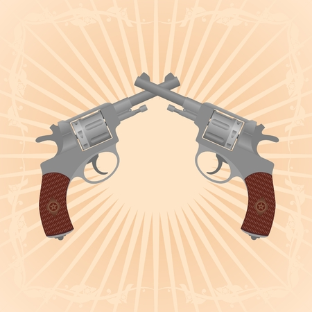 diverging: Two revolvers on an abstract background. Illustration on the background of diverging rays.