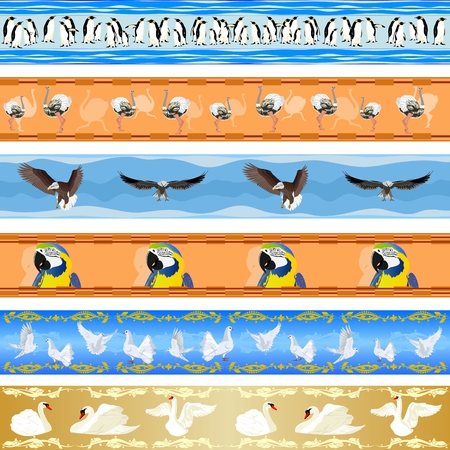 Seamless pattern with images of birds  Seamless background  Vector