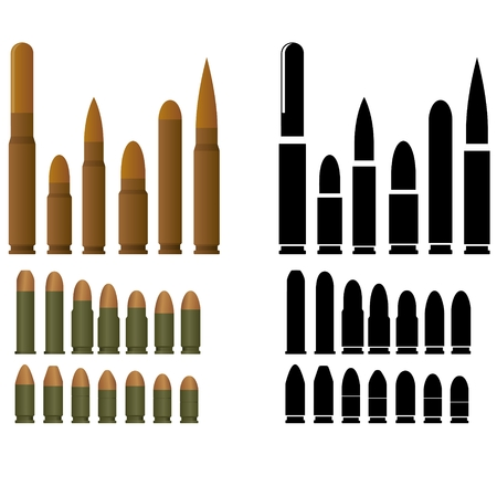 Ammunition for various types of small arms  The illustration on a white background