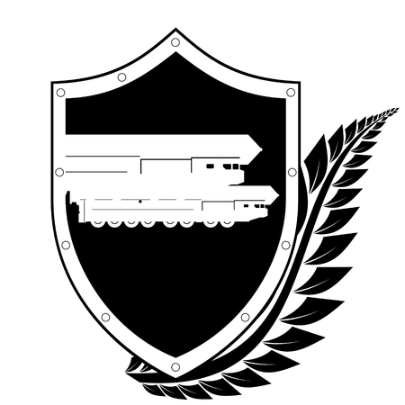 nuclear weapons: Shield and the image of a missile carrying a nuclear warhead in a frame of laurel branches  Black and white illustration on a white background