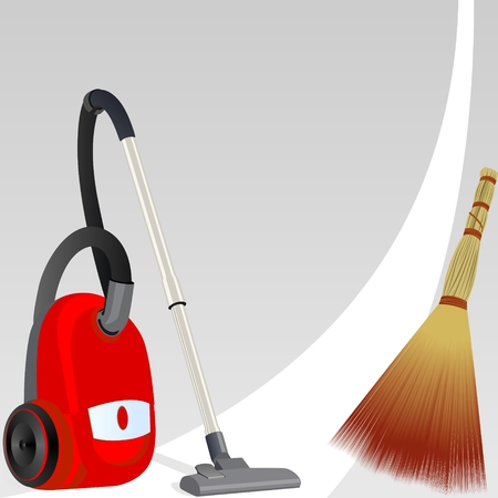 premises: Vacuum cleaner and broom for cleaning the premises of a white clean line  Illustration on an abstract gray background