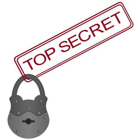 carport: Padlock and the words  Top Secret   The illustration on a white background  Illustration