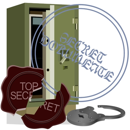Open padlock and a broken wax seal near the bank safe  The illustration on a white background  Vector