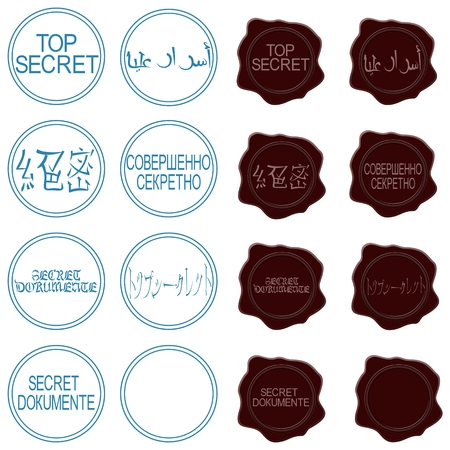 Reprints Print  Top Secret  in different languages  The illustration on a white background  Vector