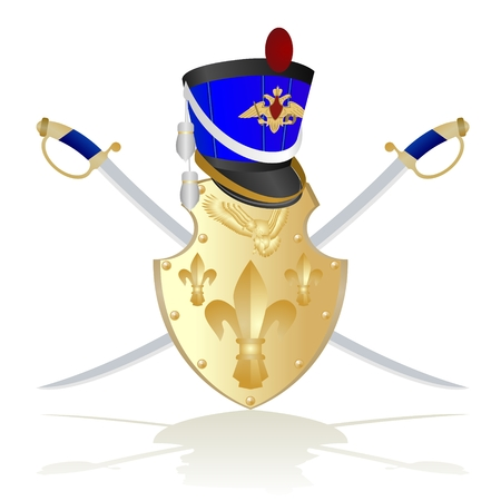 Hussar headgear, shield and weapon  The illustration on a white background  Illustration