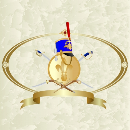 headgear: Hussar headgear, shield and weapon in the oval frame  Illustration on an abstract background