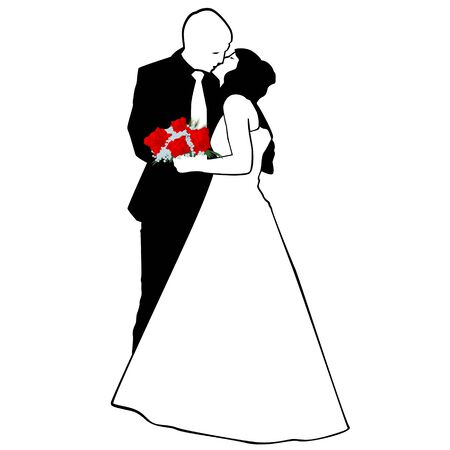 Man and woman kissing  The illustration on a white background  Vector