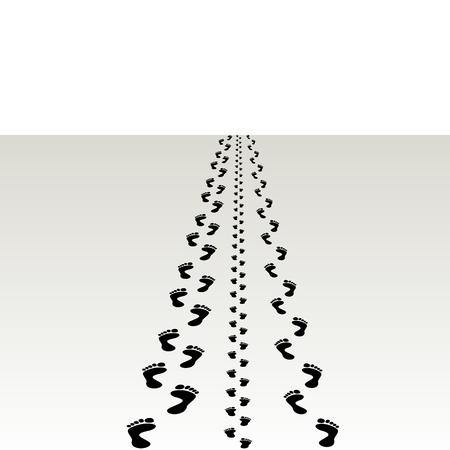 hommes et femmes: Impressions de pied d'hommes, de femmes et d'enfants L'illustration sur un fond blanc
