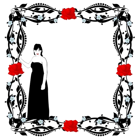Abstract image of a young woman in a flower framed  The illustration on a white background  Illustration