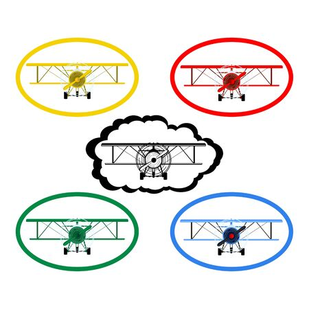 Icons with the image of an old airplane  The illustration on a white background  Vector