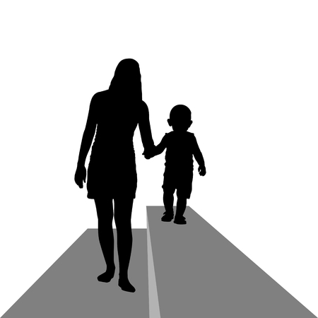 Contour image of a young woman with a child  The illustration on a white background