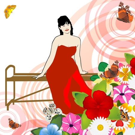 Abstract image of a young woman sitting on a bench surrounded by flowers  The illustration on a white background