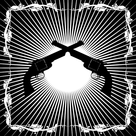 diverging: Two old revolver against the background of diverging rays  Black and white illustration  Illustration