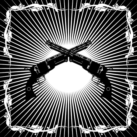 Two old gun on the background of diverging rays  Black and white illustration  Vector