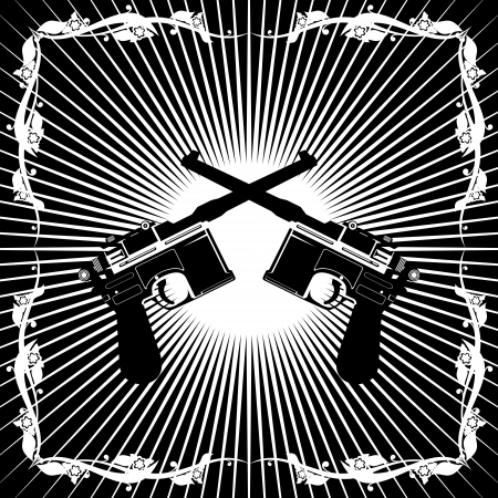 diverging: Two old gun on the background of diverging rays  Black and white illustration